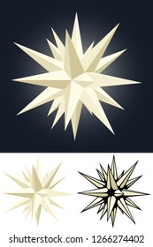 Vector illustration of a Moravian (Advent) Star Christmas decoration, in three varieties.