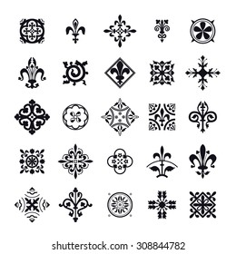 Vector Illustration of Moroccan tiles symbol for Design, Website, Background, Banner. Element for Wallpaper or Textile. Texture Template. Black and white