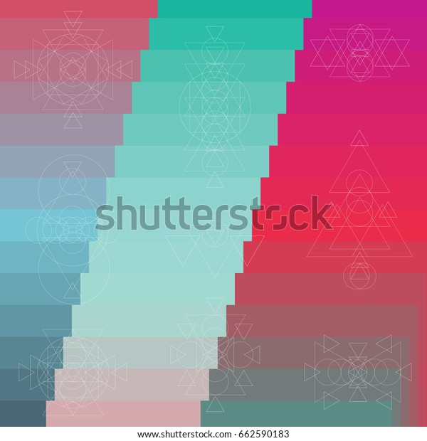 vector illustration of mosaic abstract sacred geometry background with triangles geometrical shapes with colorful gradient colors