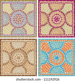 Vector illustration mosaic tiles background in antique style