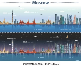 vector illustration of Moscow city skyline at day and night