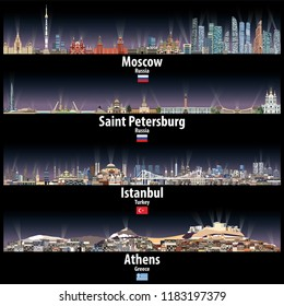 vector illustration of Moscow, Saint Petersburg, Istanbul and Athens skylines at night with bright city lights