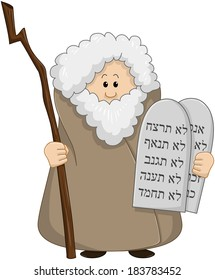 Vector illustration of Moses holding the ten commandments.
