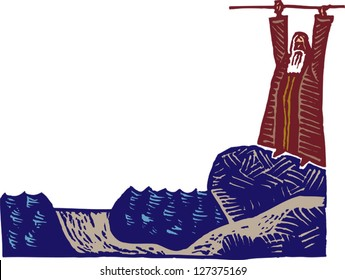 Vector illustration of Moses parting the Red Sea