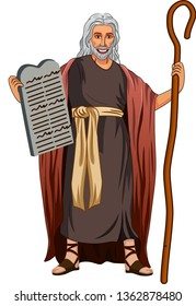 Vector illustration of Moses standing for Moses holding the stone tablets vector art