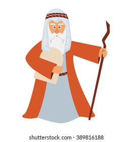 Vector illustration of Moses standing for Passover and holding stone torah