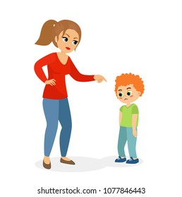 Vector illustration of mother character scolding her upset son, mom punishes son concept in flat cartoon style.