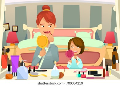 A vector illustration of Mother and Daughter Applying Makeup