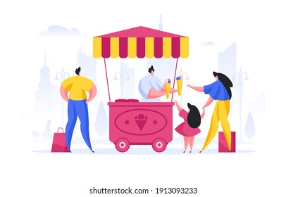 Vector illustration of mother and daughter buying sweet ice cream from street seller while man choosing snack in modern city
