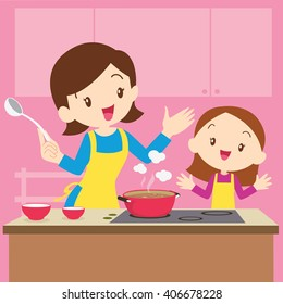 Mother and Daughter Dinner Stock Vectors, Images & Vector