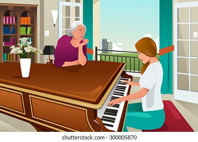 A vector illustration of mother daughter playing piano together