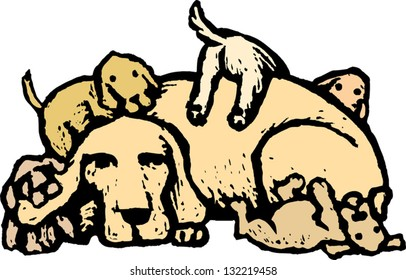 Vector illustration of mother dog with puppies