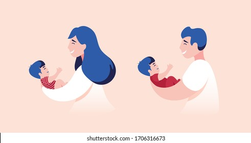 Vector Illustration Of Mother and Father Holding Baby Son In Arms.