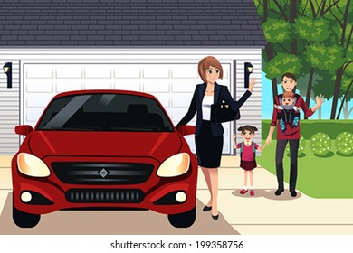 A vector illustration of mother going to work while father taking care their children