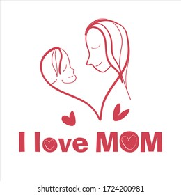 Vector Illustration Of Mother Holding Girl Son In Arms. Happy Mothers Day Greeting Card. Red color and white background.