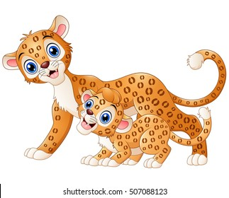 Vector illustration of Mother leopard and cub leopard cartoon