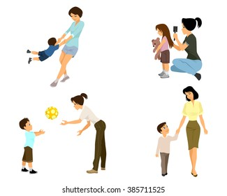 Vector illustration of a mother playing with child