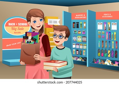 A vector illustration of a mother and son buying school supplies in a store