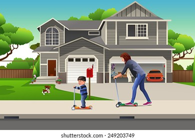 A vector illustration of Mother and son riding a scooter together in the neighborhood