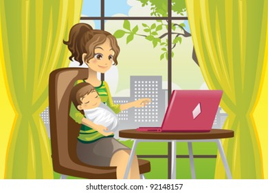 A vector illustration of a mother working on a laptop while holding a baby