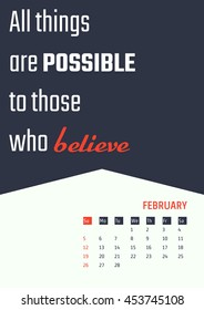 Vector Illustration of motivation quotes calendar for Design, Website, Background, Banner. Print Planner inspiration concept Template. Monthly lettering 2017 year