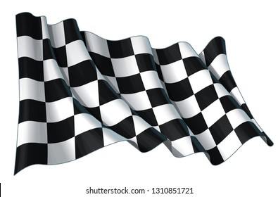 Vector illustration of a motor race waving finish checkers flag. All element neatly on well-defined layers and groups.