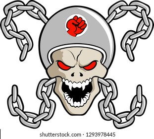 Vector illustration of a motorbiker skull with chains logo.