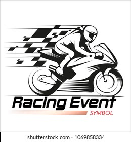 Vector illustration, motorcycle racing event symbol.