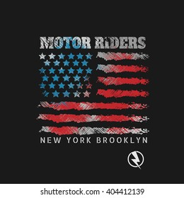 Vector illustration of a motorcycle theme in New York, Brooklyn. Grunge background.  Stylized American flag. Biker typography, t-shirt graphics, print, flyer
