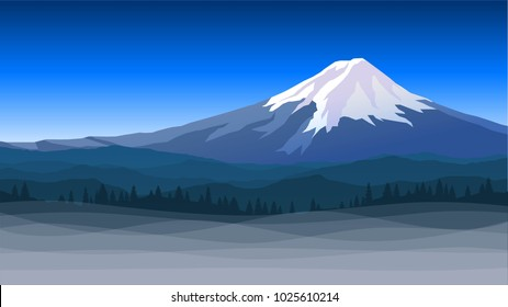 Vector illustration with Mount Fuji