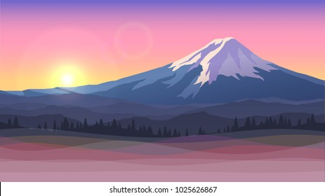 Vector illustration with Mount Fuji, sunset