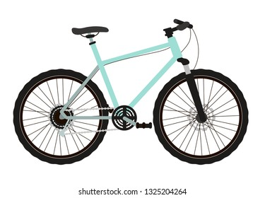 Vector illustration of a mountain bike in a flat style isolated on a white background.