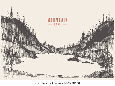 Vector illustration of a mountain lake with pine forest, engraving style, hand drawn