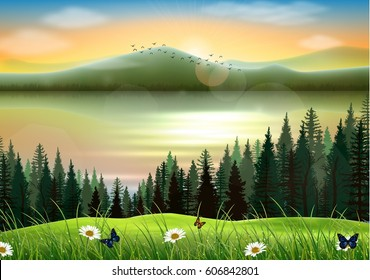 vector illustration of Mountain landscape background with lake at sunset
