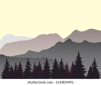 vector illustration of mountain landscape flat nature design.
