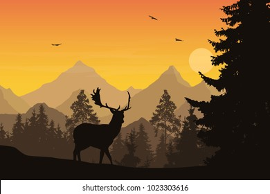 Vector illustration of mountain landscape with forest and deer under orange sky with clouds, sun and flying birds