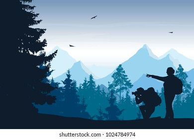 Vector illustration of mountain landscape with forest and two tourists with camera, under blue sky with clouds and flying birds