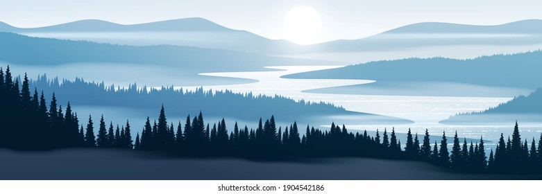 Vector illustration of mountain landscape. Forest and mountains in fog.