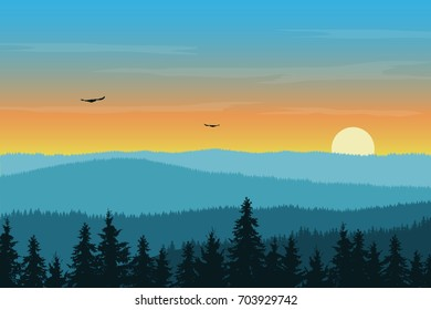 Vector illustration of mountain landscape with forest in fog under morning green and orange sky with rising sun, clouds and flying birds