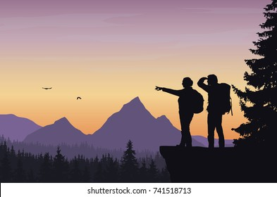 Vector illustration of a mountain landscape with a forest and two tourists, man and woman with backpacks showing his hand and looking into the distance under a orange sky with dawn and flying birds