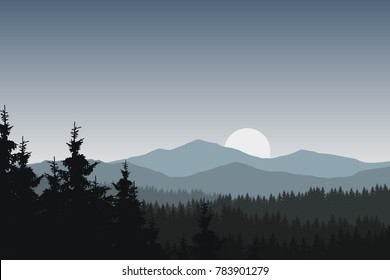 Vector illustration of mountain landscape with forest under gray sky with clouds and rising sun