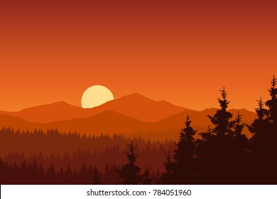 Vector illustration of mountain landscape with forest under orange sky with rising sun