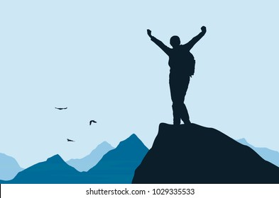 Vector illustration of a mountain landscape with a realistic silhouette of a climber at the top of a rock with a winning gesture under a blue sky with flying birds
