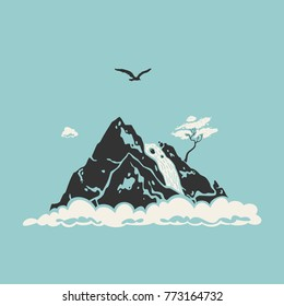 Vector Illustration Mountain Landscape Symbol