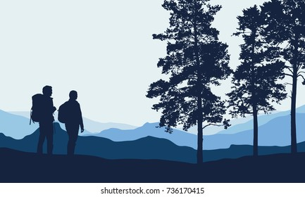 Vector illustration of a mountain landscape with trees and a people - men and women under a blue-gray sky with space for text