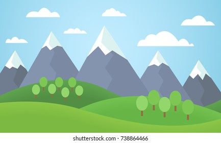 Vector illustration of a mountain landscape with trees and grass with mountain peaks covered with snow under a blue sky with clouds - flat design