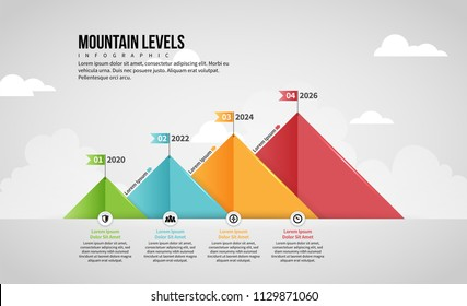 Vector illustration of Mountain Level Infographic design element.