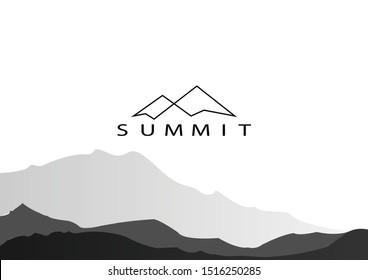 vector illustration of Mountain, Nature concept logo, Summit, Peak - Vector