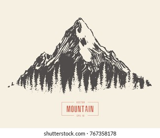 Vector illustration of a mountain peak, engraving style, hand drawn