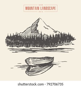Vector illustration of a mountain peak with fir forest, lake and boat, engraving style, hand drawn
